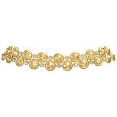 18 Karat Yellow Gold and White Diamonds Choker Necklace