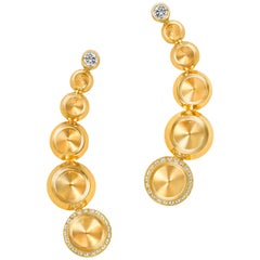 18 Karat Yellow Gold and White Diamonds Climber Earrings