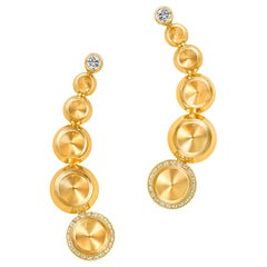 18 Karat Yellow Gold and White Diamonds Climber Earrings
