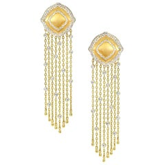 18 Karat Yellow Gold and White Diamonds Fringe Earrings