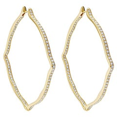 18 Karat Yellow Gold and White Diamonds Jumbo Hoop Earrings