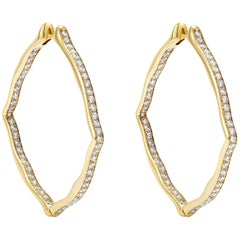 18 Karat Yellow Gold and White Diamonds Large Hoop Earrings