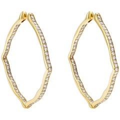 18 Karat Yellow Gold and White Diamonds Large Hoop Earrings