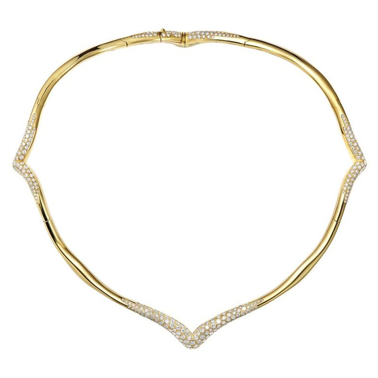 The Nile yellow gold and white diamond necklace, 2019