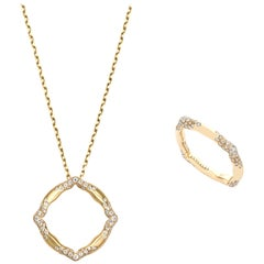 18 Karat Yellow Gold and White Diamonds Pendant and Ring
