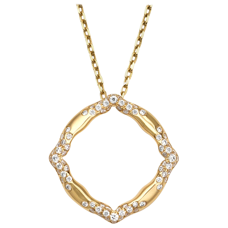 18 Karat Yellow Gold and White Diamonds Pendant