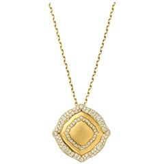 18 Karat Yellow Gold and White Diamonds Pendant