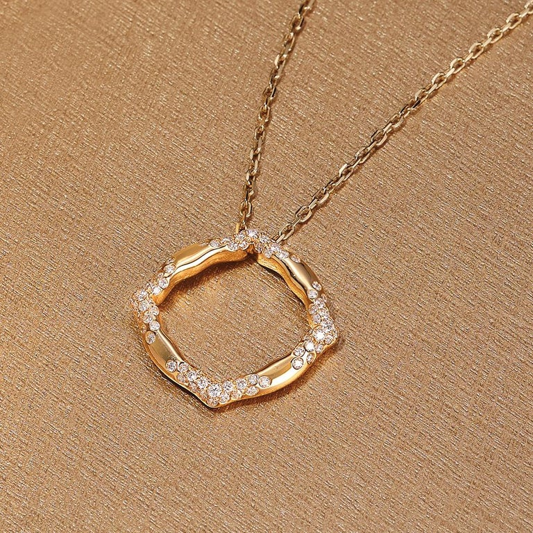 18 Karat Yellow Gold and White Diamonds Stackable Pendants For Sale 4
