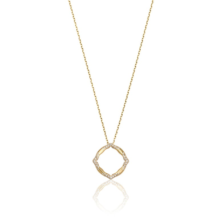 18 Karat Yellow Gold and White Diamonds Stackable Pendants For Sale 6