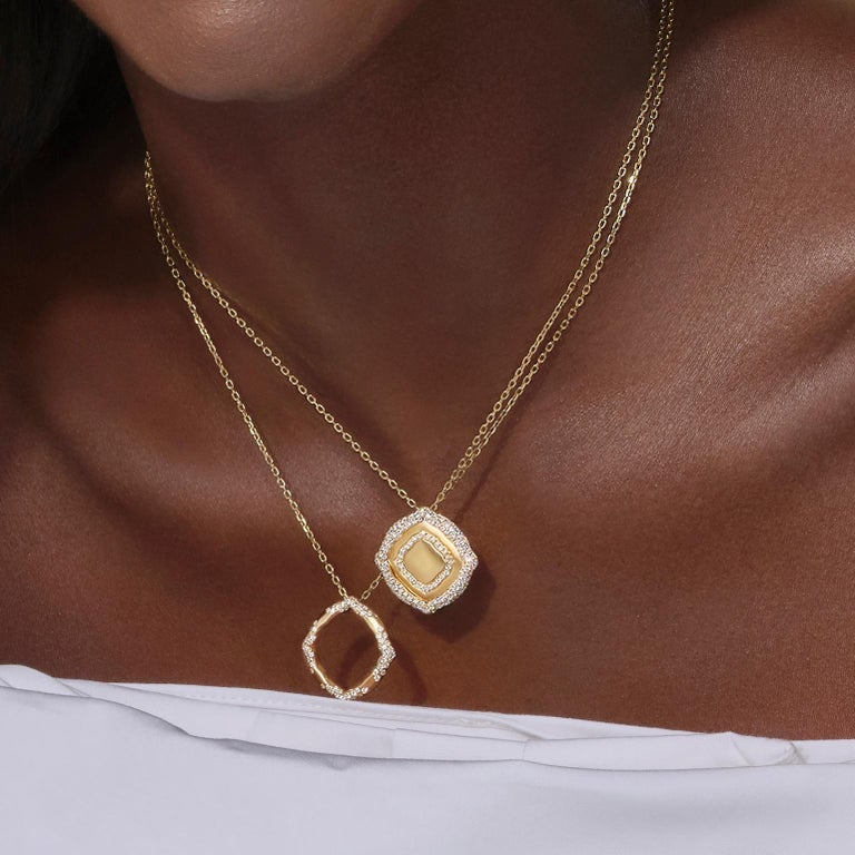 Contemporary 18 Karat Yellow Gold and White Diamonds Stackable Pendants For Sale