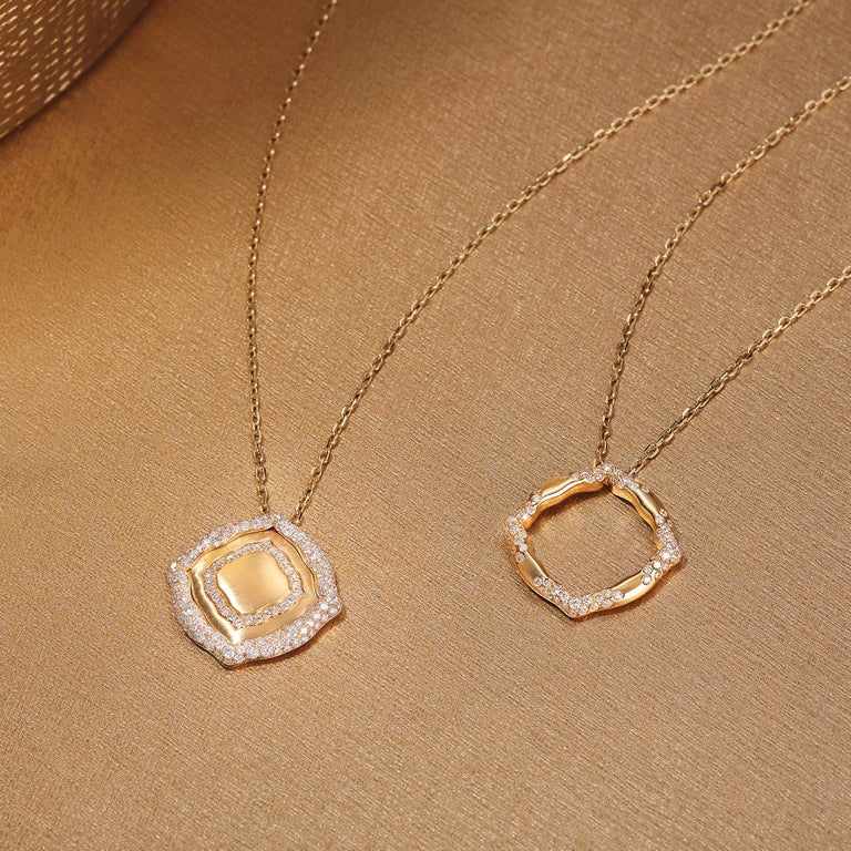 Round Cut 18 Karat Yellow Gold and White Diamonds Stackable Pendants For Sale