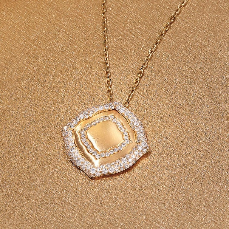 18 Karat Yellow Gold and White Diamonds Stackable Pendants In New Condition For Sale In Mayfair, London, GB
