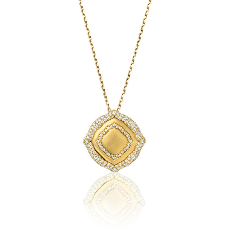 Women's 18 Karat Yellow Gold and White Diamonds Stackable Pendants For Sale