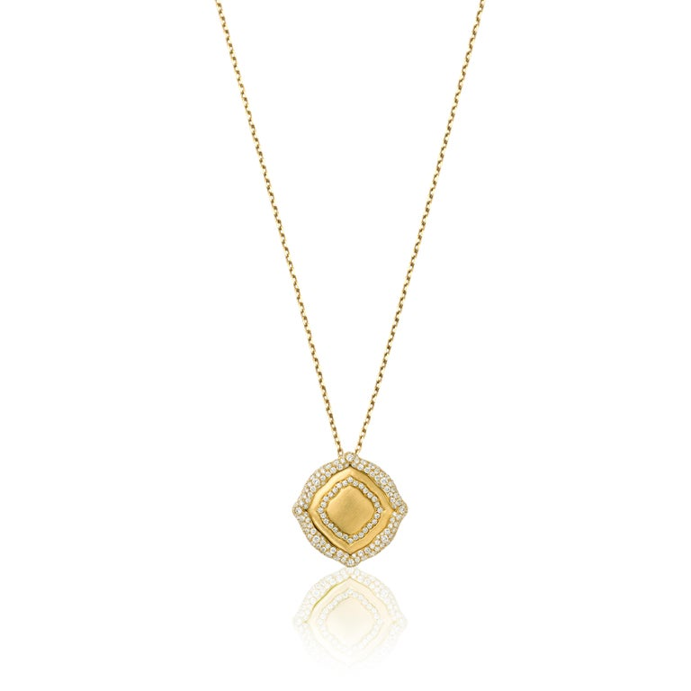 18 Karat Yellow Gold and White Diamonds Stackable Pendants For Sale 1