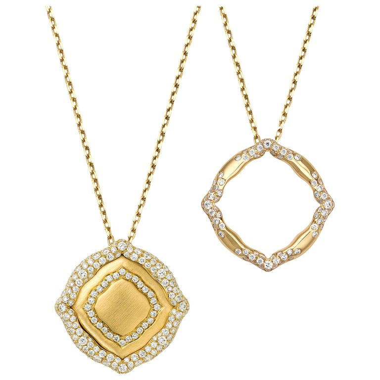 18 Karat Yellow Gold and White Diamonds Stackable Pendants For Sale