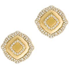 18 Karat Yellow Gold and White Diamonds Stud Earrings
