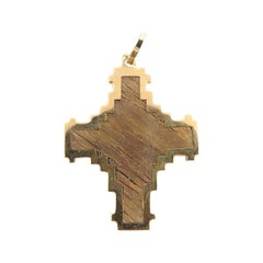18 Karat Yellow Gold and Wood Cross Pendant