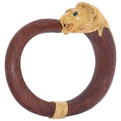 18 Karat Yellow Gold and Wood Lion Head Bangle by Van Cleef & Arpels