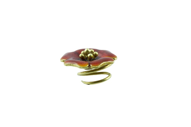 18 Karat Yellow Gold and Yellow Green Blue Red Enamel Brooches For Sale 1