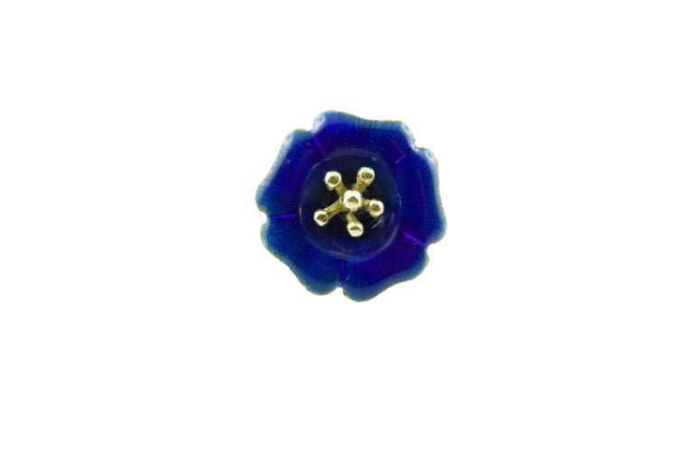 18 Karat Yellow Gold and Yellow Green Blue Red Enamel Brooches For Sale 2