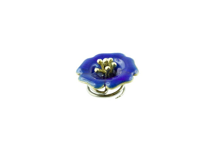 18 Karat Yellow Gold and Yellow Green Blue Red Enamel Brooches For Sale 3