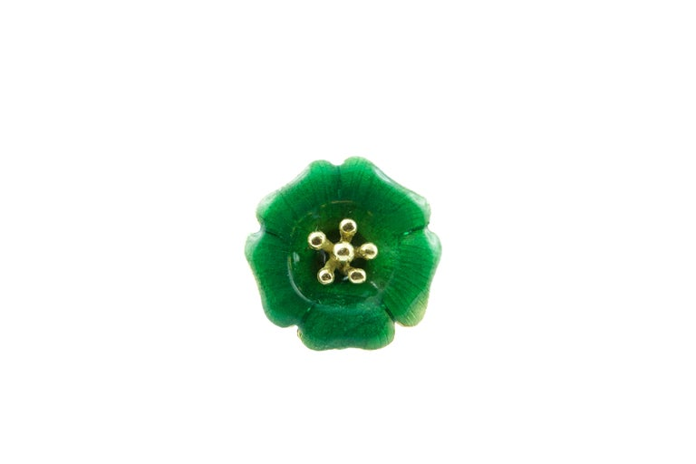 18 Karat Yellow Gold and Yellow Green Blue Red Enamel Brooches For Sale 4