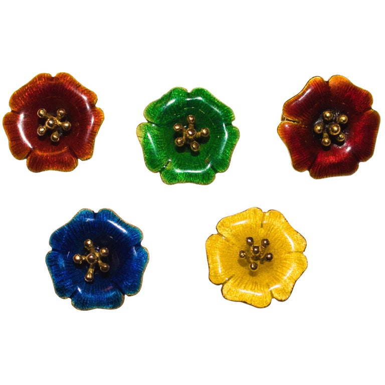 18 Karat Yellow Gold and Yellow Green Blue Red Enamel Brooches For Sale