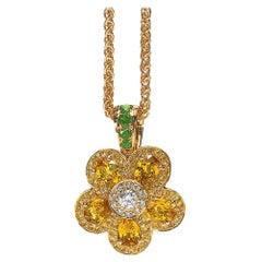 18 Karat Yellow Gold and Yellow Sapphire Flower Power Pendant