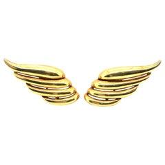 18 Karat Yellow Gold Angel Wings Ear Clips