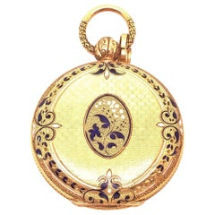 18 Karat Yellow Gold Antique Breguet Paris Pocket Watch with Porcelain Dial
