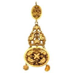 Victorian 18 Karat Yellow Gold Filigree Pendant