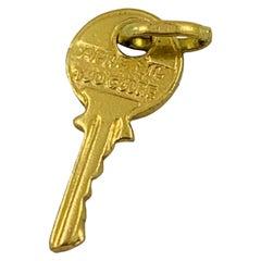 """18 Karat Yellow Gold """"Apre Il Tuo Cuore"""" Key Charm Pendant"""