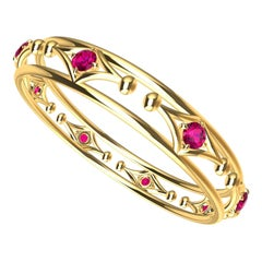 18 Karat Yellow Gold Arabesque Ruby Rhombus Bangle