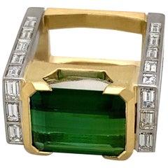 "18 Karat Yellow Gold ""Arch"" Green Tourmaline 6.43 Carat Cocktail Ring"