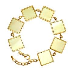 18 Karat Yellow Gold Art Deco Bracelet with Lemon Quartzes, Featured in Vogue