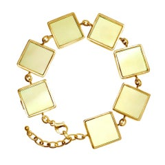 18 Karat Yellow Gold Art Deco Style Bracelet with Lemon Quartzes