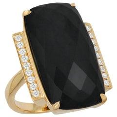 18 Karat Yellow Gold Art Deco Style Cocktail Ring Black Onyx and Diamonds