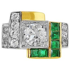 Art Deco Style 18 Karat Yellow Gold Diamond Emerald Ring
