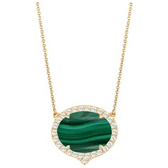 18 Karat Yellow Gold Art Deco Style Oval Necklace with Malachite & Diamonds