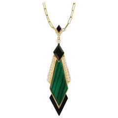 18 Karat Yellow Gold Kite Necklace w/ Malachite, Black Onyx & Diamonds