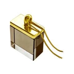 18 Karat Yellow Gold Art Deco Style Pendant Necklace with Smoky Quartz