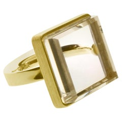 18 Karat Yellow Gold Art Deco Ring with Rock Crystal by Artist, Feat. in Vogue