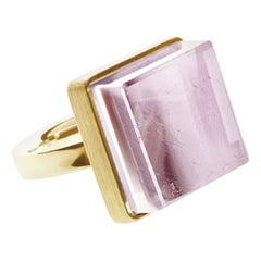 18 Karat Yellow Gold Art Deco Style Ring with Natural Pink Tourmaline