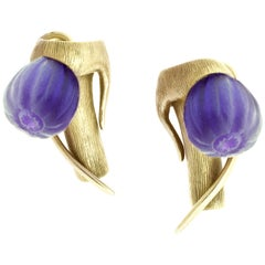 18 Karat Yellow Gold Art Nouveau Cocktail Fig Earrings with Amethysts