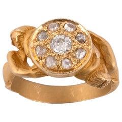 18 Karat Yellow Gold Art Nouveau Diamond Cluster Man Ring