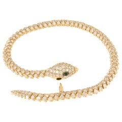 "18 Karat Yellow Gold Articulated Serpenti ""Snake"" Diamond Bracelet"