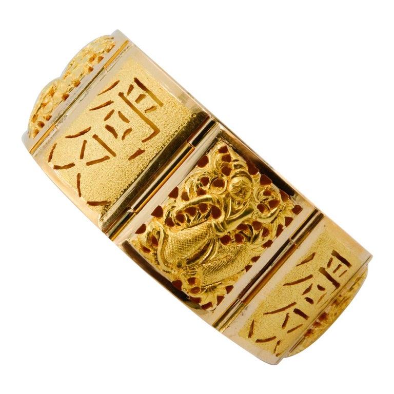18 Karat Yellow Gold Asian Four Season Panel Bracelet For Sale