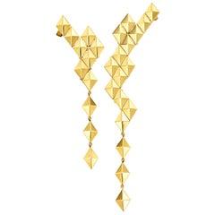18 Karat Yellow Gold Asymmetrical Drop Earrings