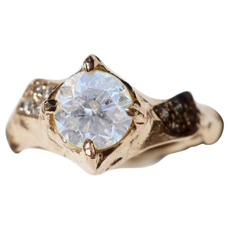 18 Karat Yellow Gold Asymmetrical White Diamond Ring