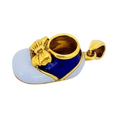 18 Karat Yellow Gold Baby Shoe Charm with Dark and Light Blue Enamel